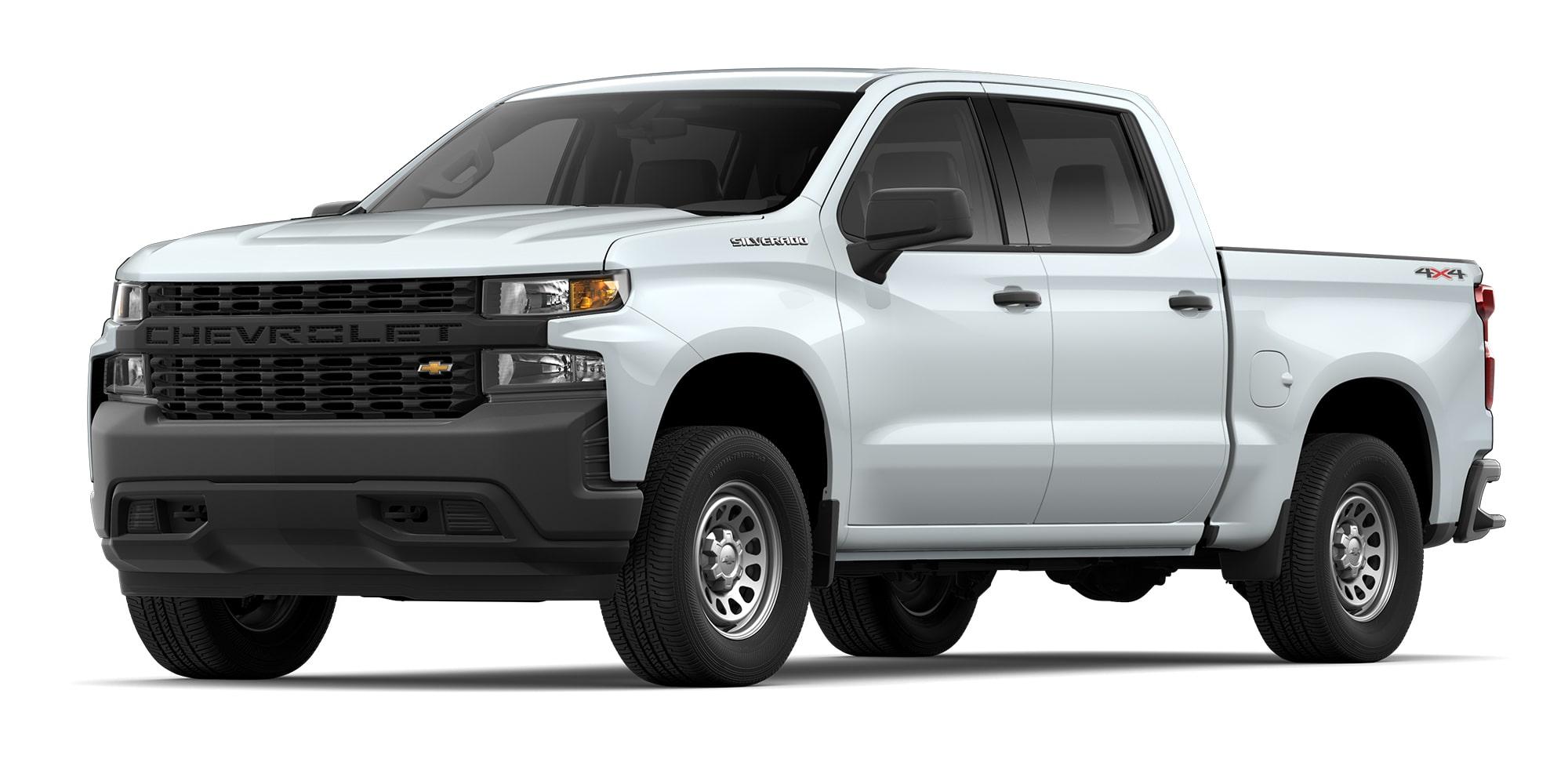 Chevrolet Silverado 2021 color blanco versión doble cabina con atracción de 4X4