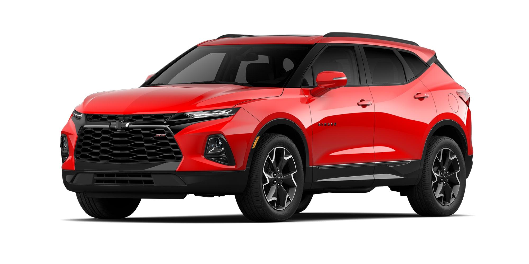 Chevrolet Blazer 2021 color rojo rubí en versión RS