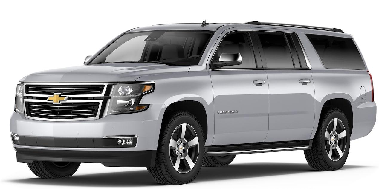 Chevrolet Suburban 2018 camioneta de lujo color plata brillante