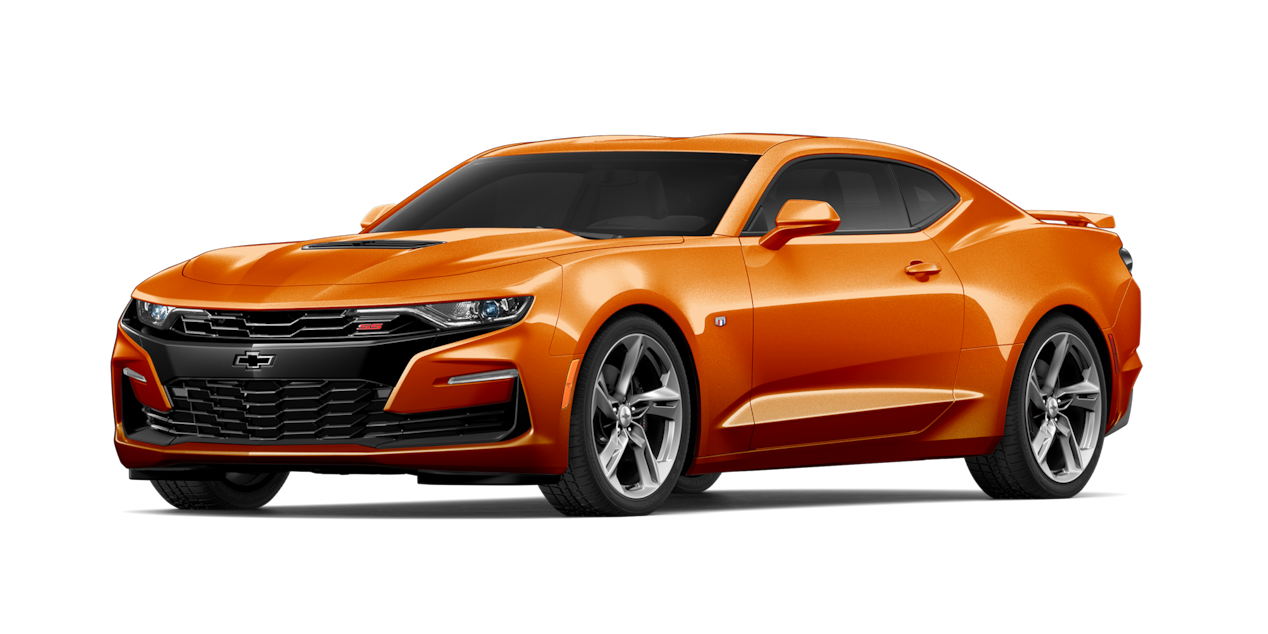 Chevrolet Camaro 2019, carro deportivo color orange metallic